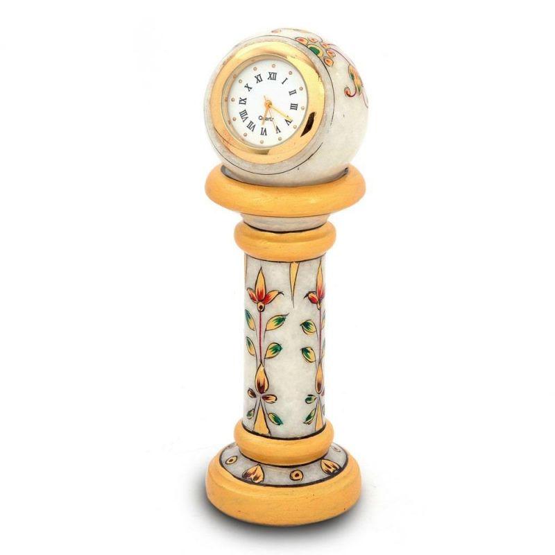 Buy Vivan Creation Ethnic Design Marble Table Clock Handicraft -145 online