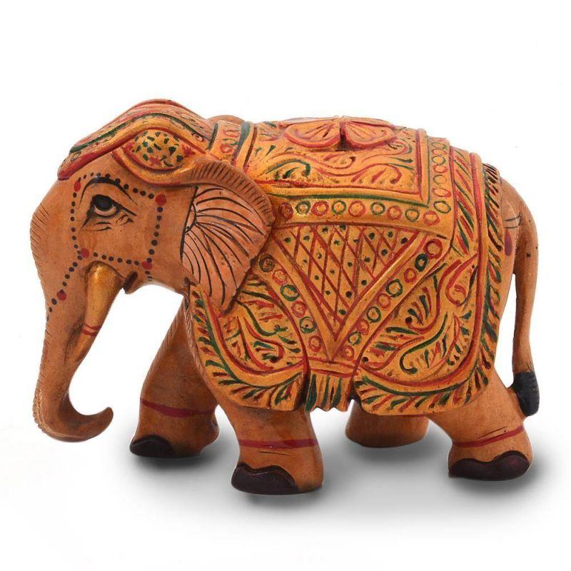 Buy Vivan Creation Wooden Hand Carved Painted Elephant Handicraft 153 online