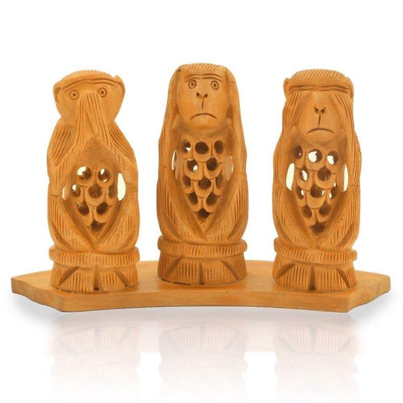 Buy Vivan Creation Gandhi Monkey Set Fine Carved Wood Handicraft -158 online