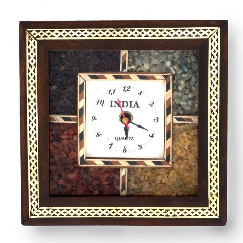 Buy Vivan Creation Antique Handcrafted Gemstone Wooden Wall Clock online