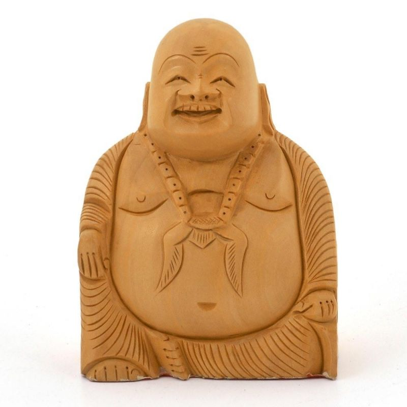 Buy Vivan Creation Good Luck Laughing Buddha In Fine Carved Wood -194 online