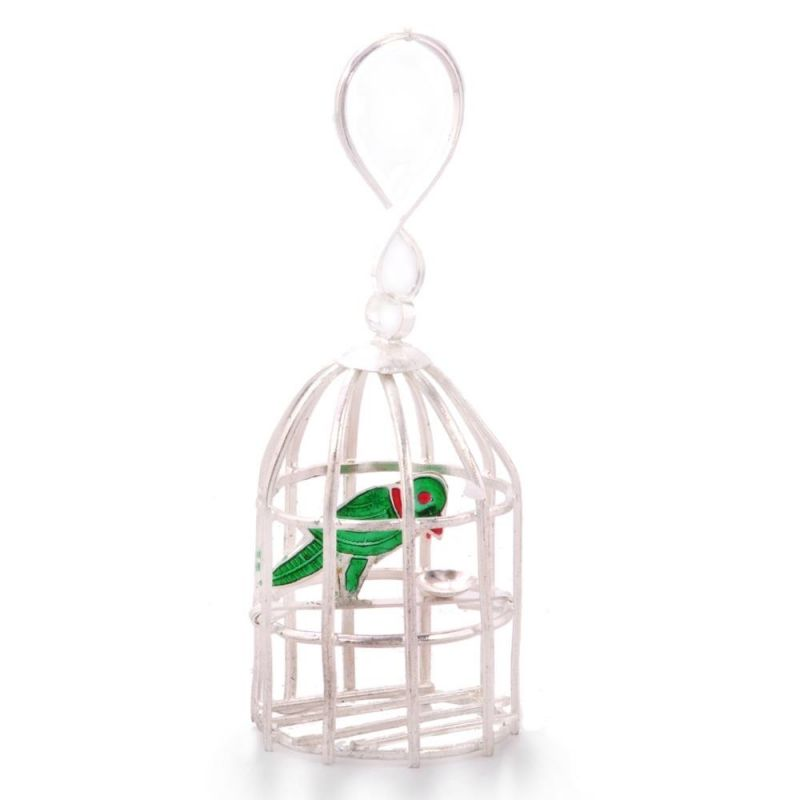 Buy Vivan Creation Decorative Silver Polished Green Parrot N Cage 227 online