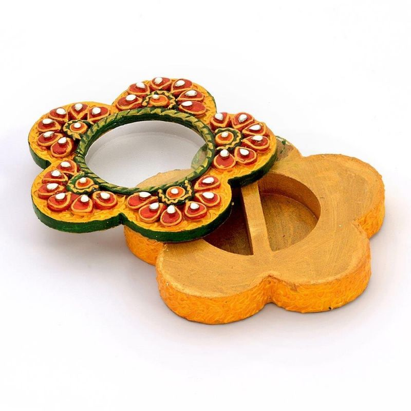 Buy Vivan Creation Exclusive Kundan Meenakari Flower Container 248 online