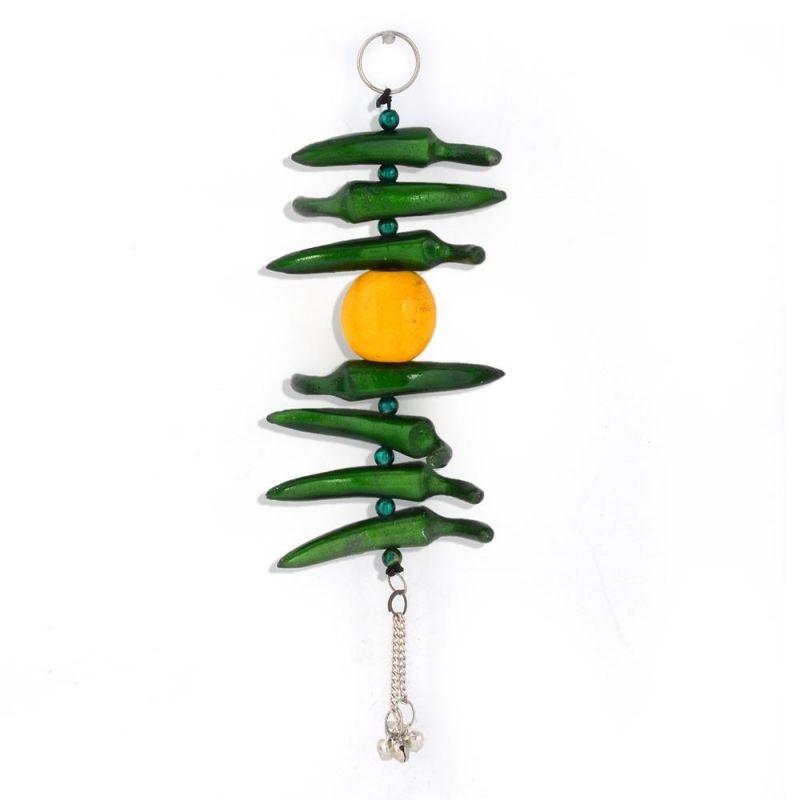 Buy Vivan Creation Lemon Green Chilly Wall Hanging In White Metal 285 online