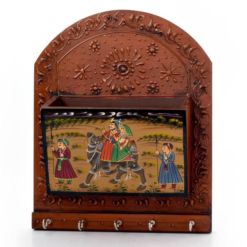 Buy Vivan Creation Wooden Hand Painted Magazine And 5 Key Holder 298 online