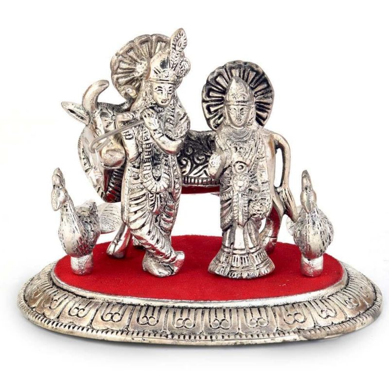 Buy Vivan Creation White Metal Lord Radha Krishna Idol With Cow 315 online