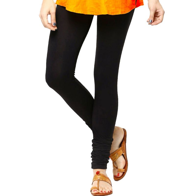 Buy Vivan Creation Women Stylish Sexy Black Color Comfortable Cotton Churidaar Leggings online