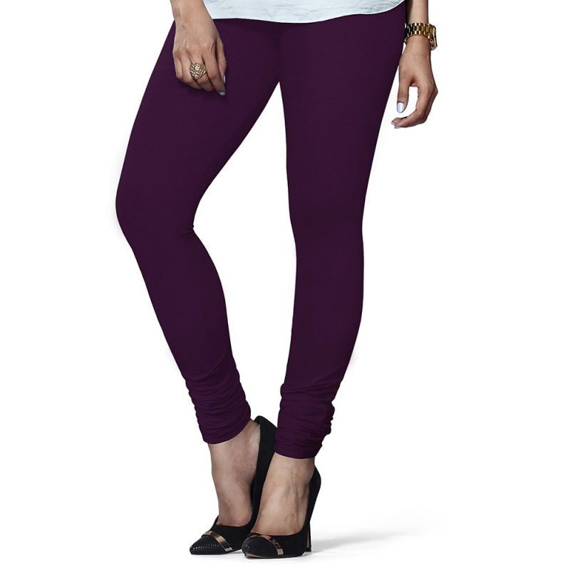 Buy Vivan Creation Women Stylish Dark Purple Color Comfortable Cotton Churidaar Leggings (product Code - Dli5lch210) online
