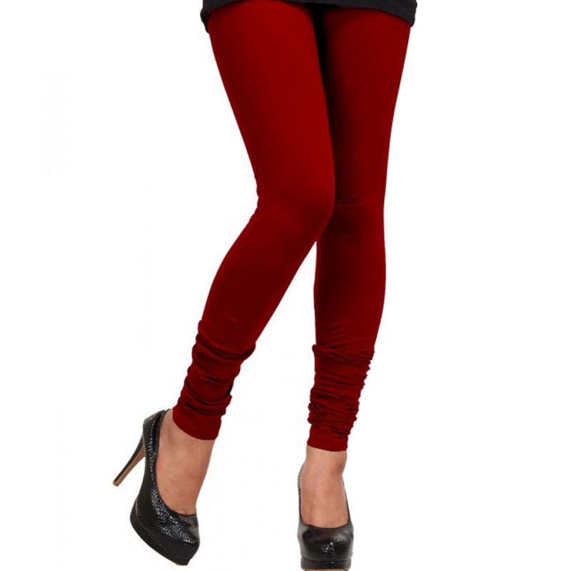 ef37825c3e9db5 Buy Vivan Creation Ladies Stylish Dark Red Color Comfortable Cotton  Churidaar Leggings online
