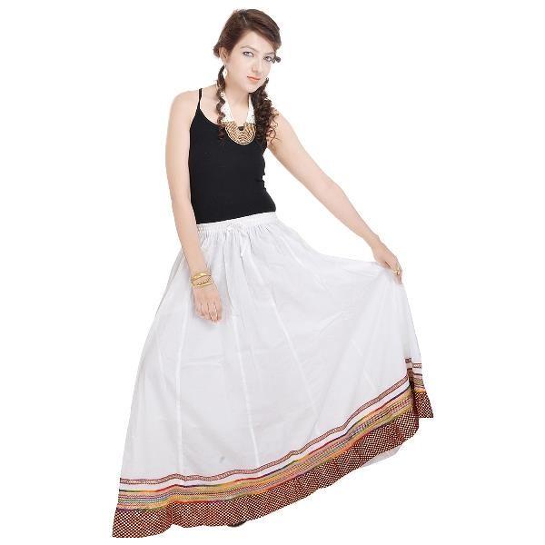 Buy Vivan Creation Shree Mangalam Mart Specially Designed Full Length White Skirt In Bottom Free Size (product Code - Smskt503) online