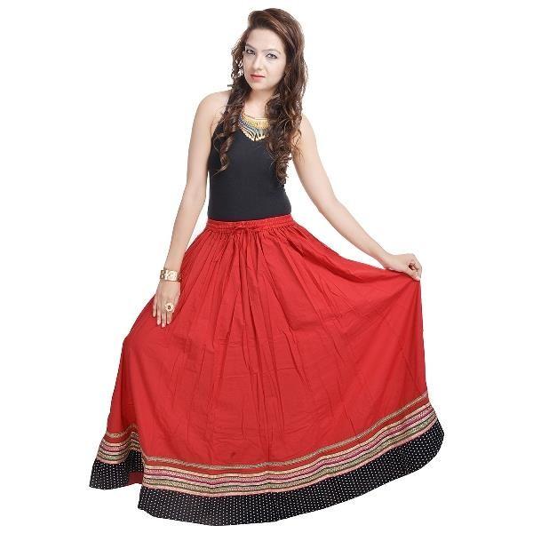 Buy Vivan Creation Shree Mangalam Mart Full Length Red Skirt Designer In Bottom Free Size (product Code - Smskt506) online