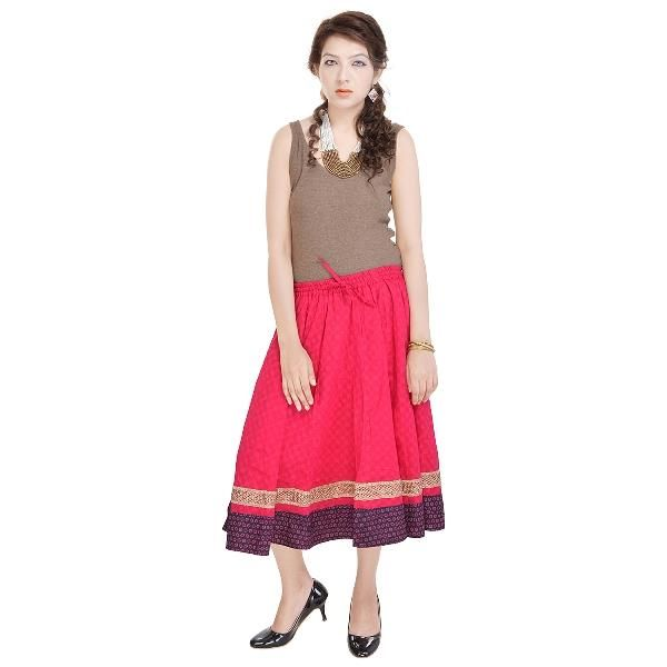 Buy Vivan Creation Rajasthani Pink Cotton Skirt  Free Size online