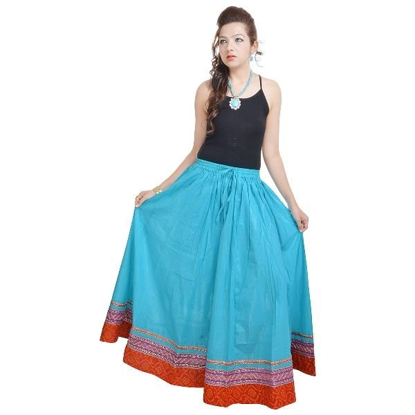 Buy Vivan Creation Fashionable & Ethnic Blue Cotton Long Skirt Free Size online