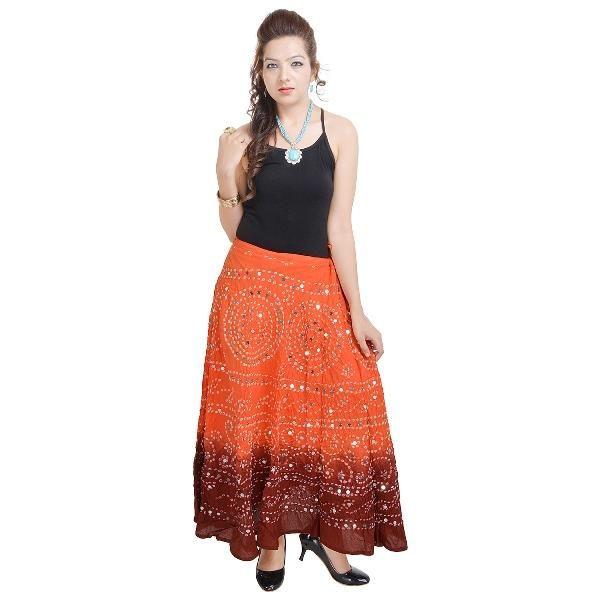 Buy Vivan Creation Bandhej Exclusive Orange Cotton Skirt Free Size (product Code - Smskt533) online