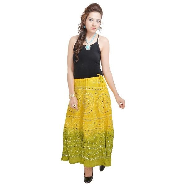 Buy Vivan Creation Rajasthani Light Green Bandhej Design Cotton Skirt Free Size online