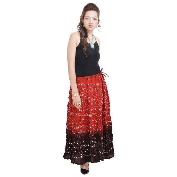 Buy Vivan Creation Rajasthani Red-black Bandhej Design Cotton Skirt Free Size (product Code - Smskt539) online