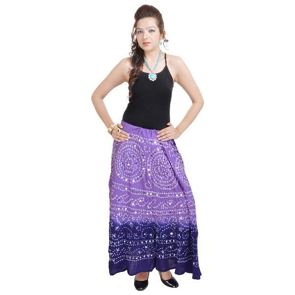 Buy Vivan Creation Bandhej Exclusive Purple Cotton Skirt  Free Size online