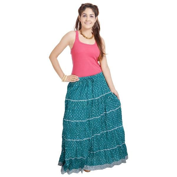 Buy Vivan Creation Jaipuri Ethnic Sea Green Cotton Skirt Free Size online
