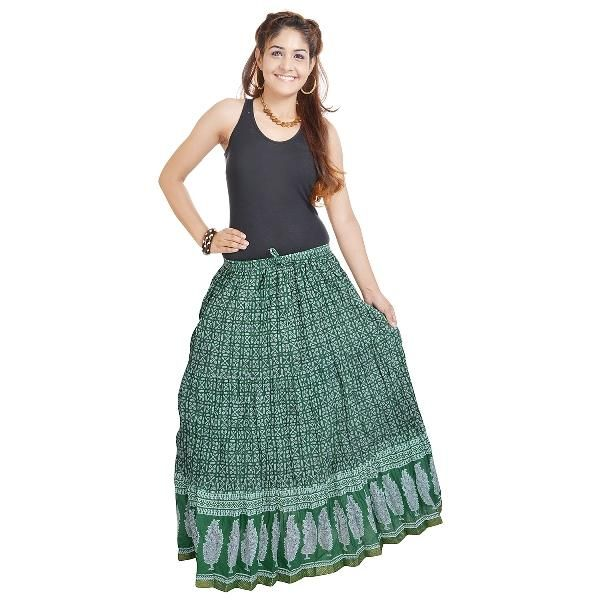 Buy Vivan Creation Rajasthani Dark Green Fine Cotton Skirt  Free Size online
