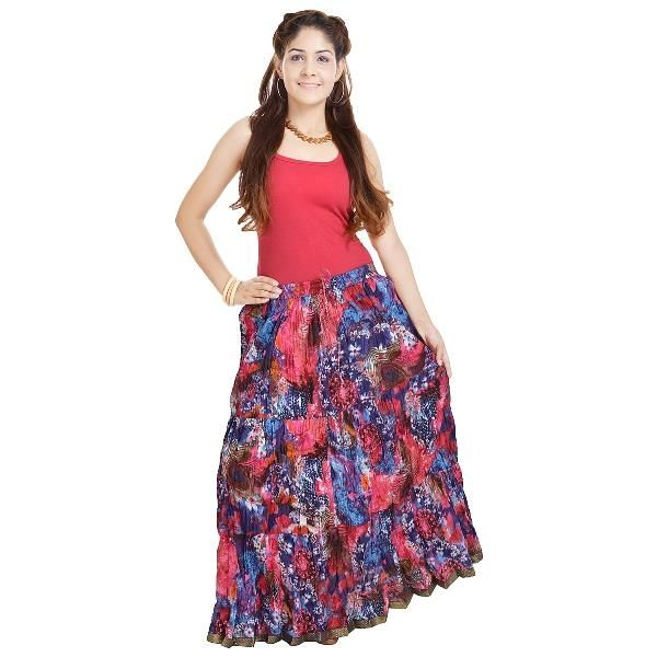 Buy Vivan Creation Fashionable Ethnic Cotton Full Length Skirt  Free Size online