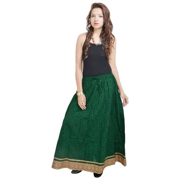 Buy Vivan Creation Rajasthani Ethnic Green Cotton Short Skirt Free Size online