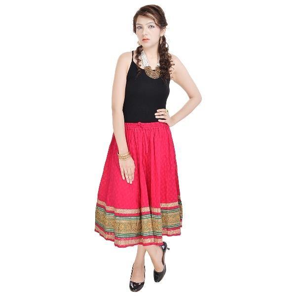 Buy Vivan Creation Rajasthani Pink Cotton Skirt Free Size (product Code - Smskt589) online