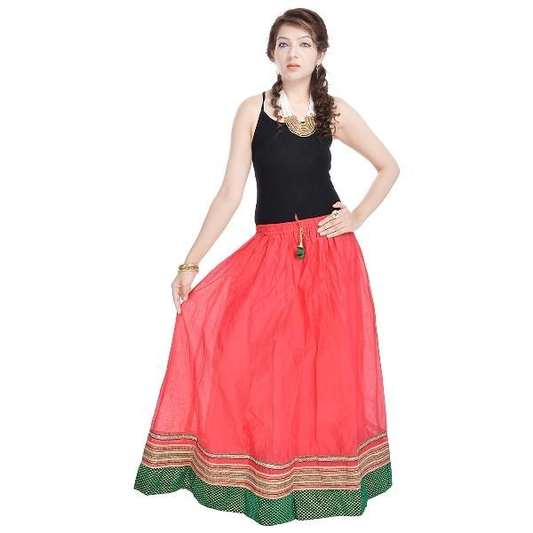 Buy Vivan Creation Rajasthani Ethnic Red Pure Cotton Skirt Free Size (product Code - Smskt600) online