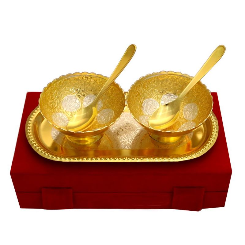 Buy Vivan Creation Lotus Shape German Silver 2 Bowl and One tray With 2 Spoon Set online