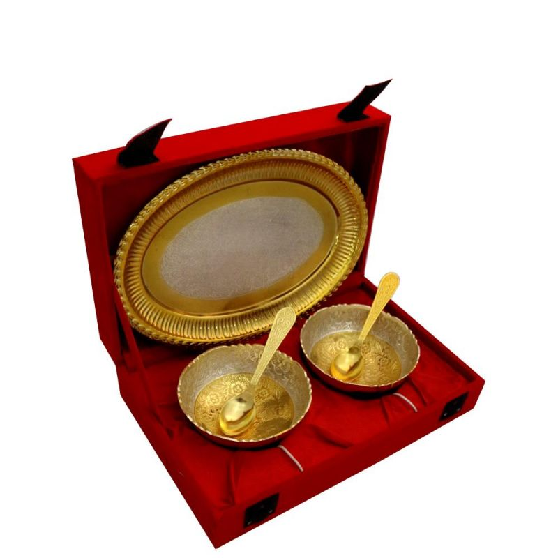 Buy Vivan Creation Round Shape 2 Bowl and tray with 2 Spoon Set online
