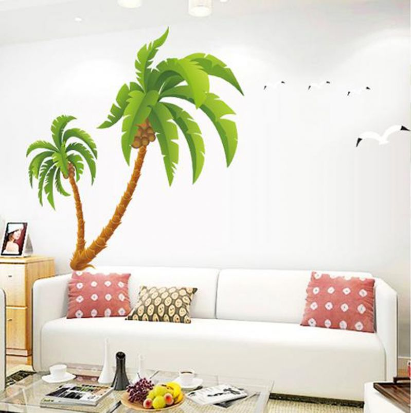 Buy Decals Arts Large Coconut Tree Decorative 2 Sheet Wall Stickers Online