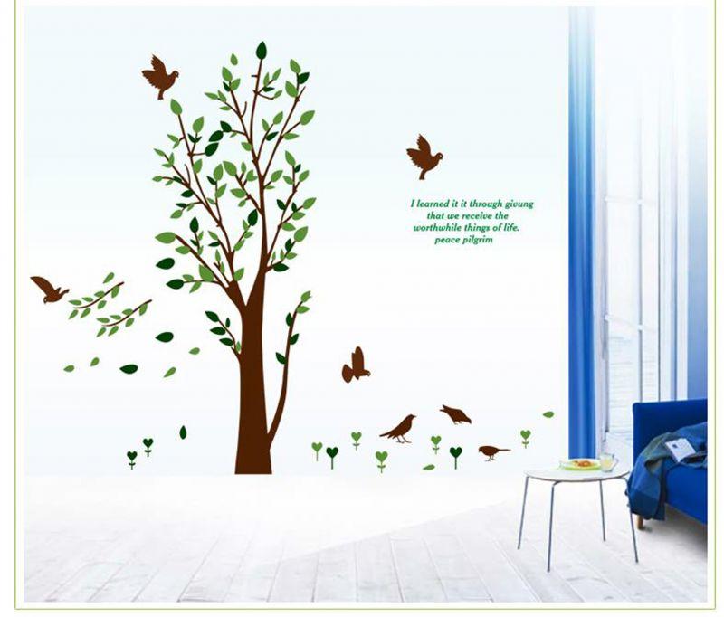 Buy Decals Arts Leaf Bird Wall Sticker online