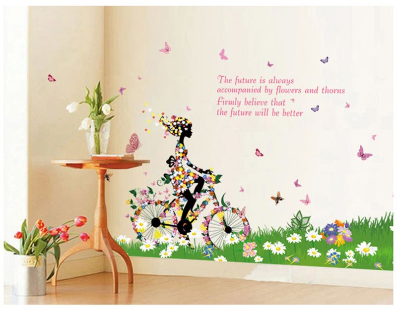 Buy Decals Arts Removable Bicycle Girl Butterfly Flower Art 3d Wall Sticker  Online