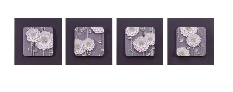 Buy Decals Arts Hand Painted Beautiful Pink Flowers 3d Embossed Painting online