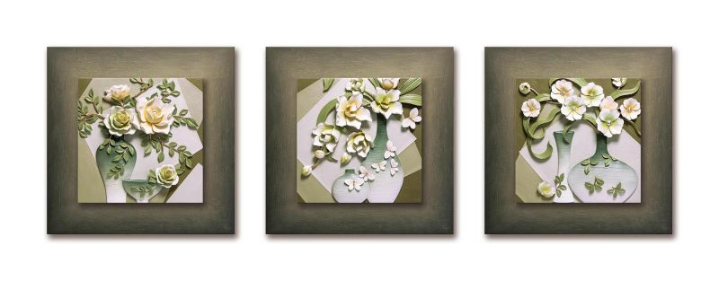 Buy Decals Arts Hand Painted Green Floral Vases Set 3d Embossed Painting online