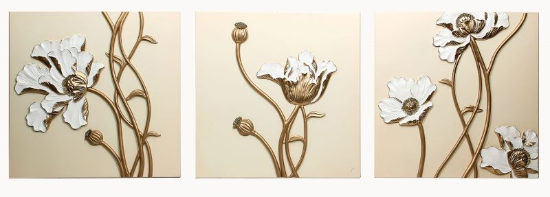 Buy Decals Arts Hand Painted Beautiful Wild Flowers 3d Embossed Painting online