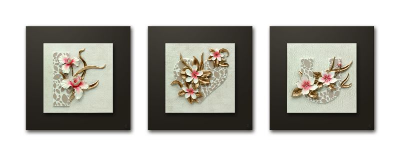 Buy Decals Arts Hand Painted Floral Love Set 3d Embossed Painting online