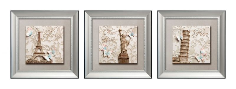 Buy Decals Arts Hand Painted World Wonder Set 3d Embossed Painting online