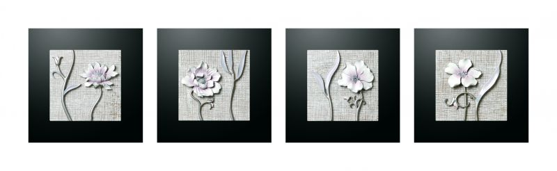 Buy Decals Arts Hand Painted Grainy Flower 3d Embossed Painting online