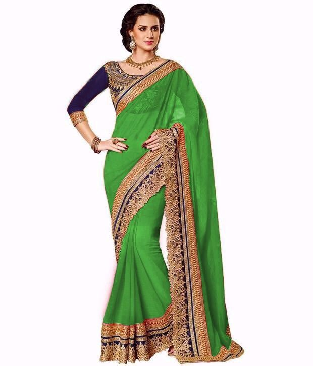 Buy Bhuwal Fashion Green Faux Georgette Embroidered Saree With Blouse PCs Bf108-green online