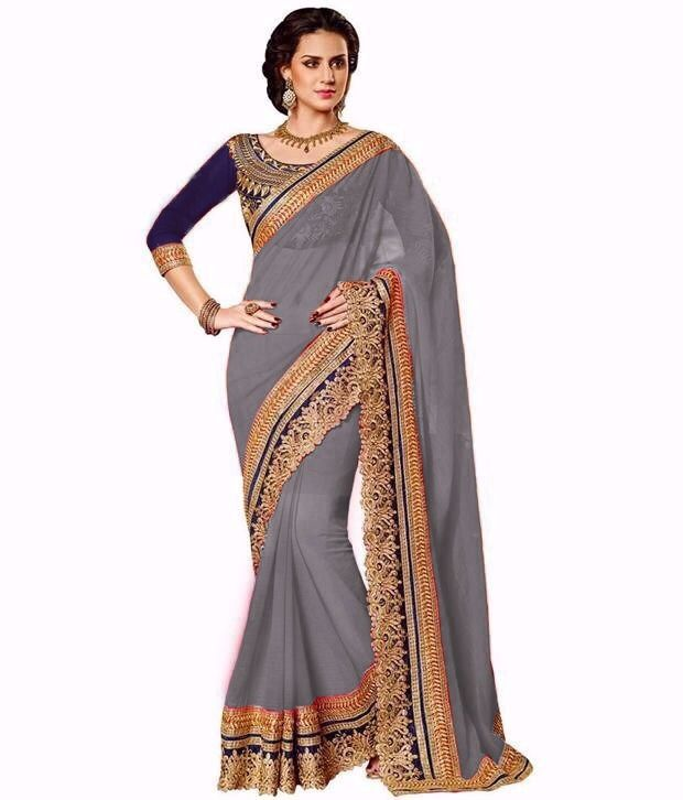 Buy Bhuwal Fashion Grey Faux Georgette Embroidered Saree With Blouse Pcs online