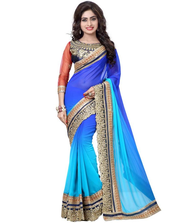 Buy Bhuwal Fashion Multicolor Faux Georgette Embroidered Saree With Blouse Pcs online