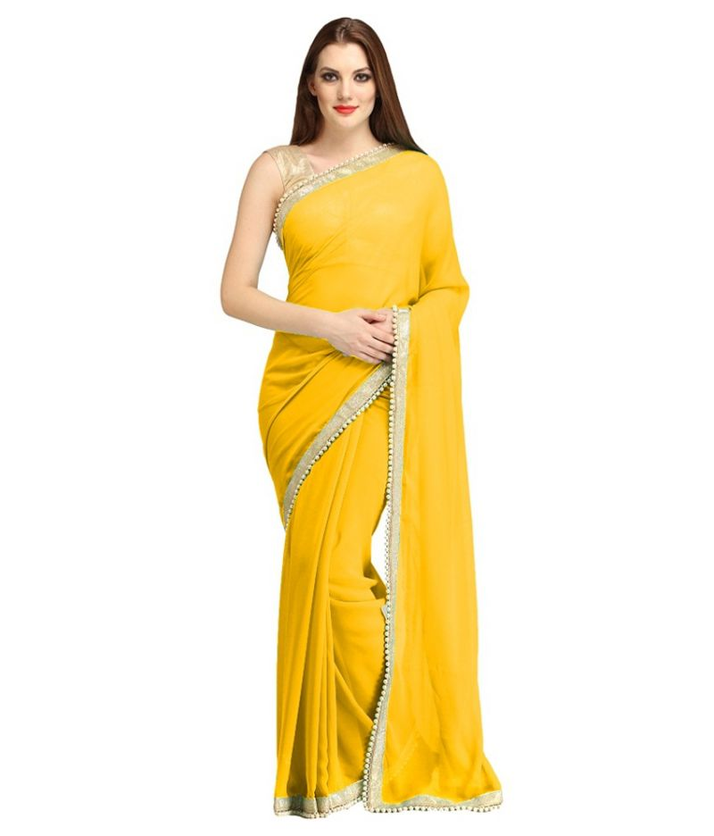 Buy Bhuwal Fashion Yellow Faux Chiffon Partywear Gota Patti Saree With Blouse Pcs online