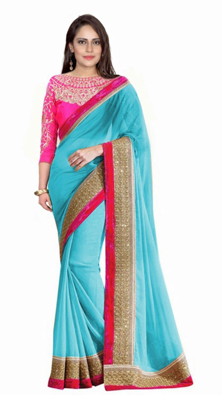 Buy Bhuwal Fashion Turquoise Faux Georgette Embroidered Saree With Blouse PCs Bf110skyblue online