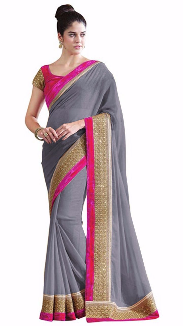 Buy Bhuwal Fashion Grey Faux Chiffon Partywear Saree With Blouse Pcs online