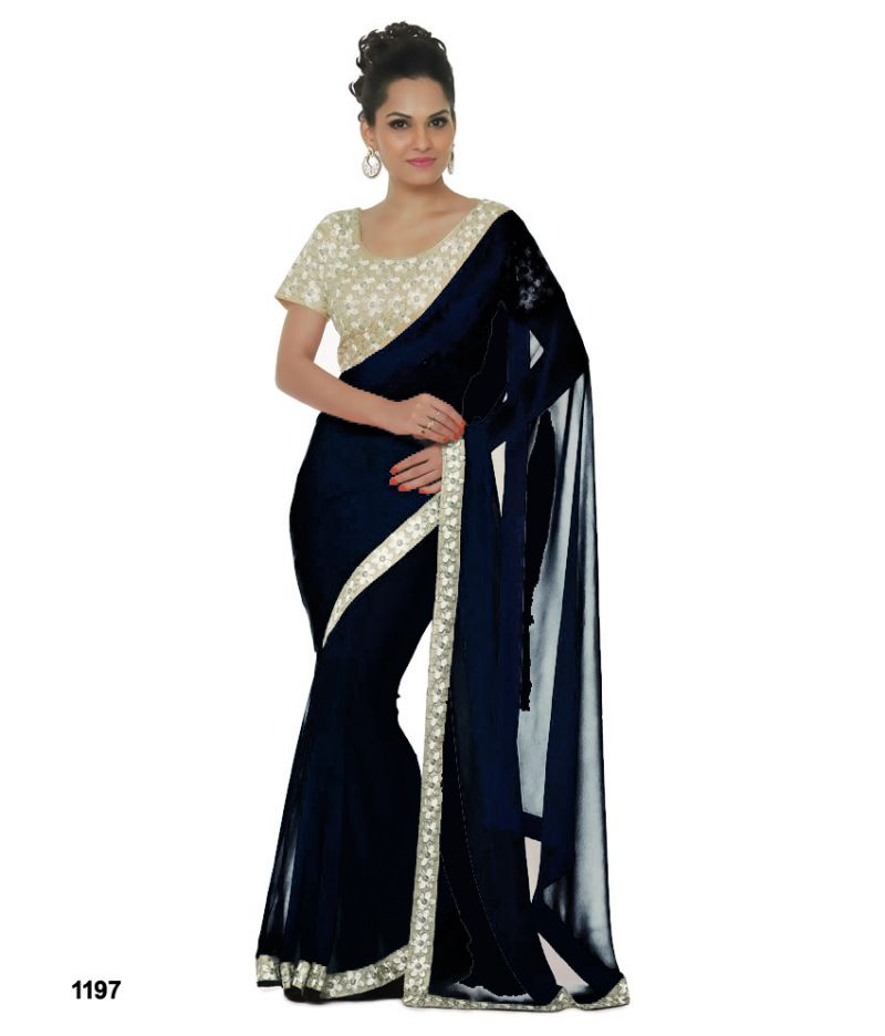 Buy Bhuwal Fashion Black Faux Chiffon Embroidered Saree With Blouse Pcs online