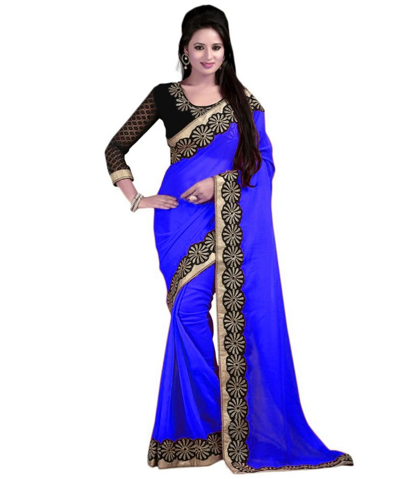 Buy Bhuwal Fashion Blue Faux Chiffon Embroidered Saree With Blouse PCs Bf114blue online