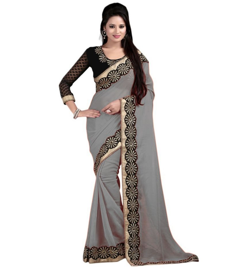 Buy Bhuwal Fashion Grey Faux Chiffon Embroidered Saree With Blouse Pcs online