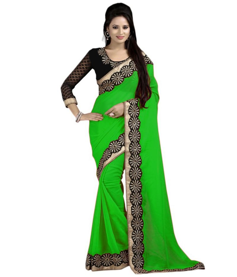 Buy Bhuwal Fashion Green Faux Chiffon Embroidered Saree With Blouse Pcs online