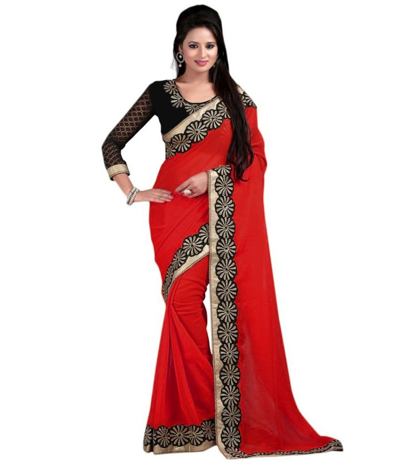 Buy Bhuwal Fashion Red Faux Chiffon Embroidered Saree With Blouse Pcs online