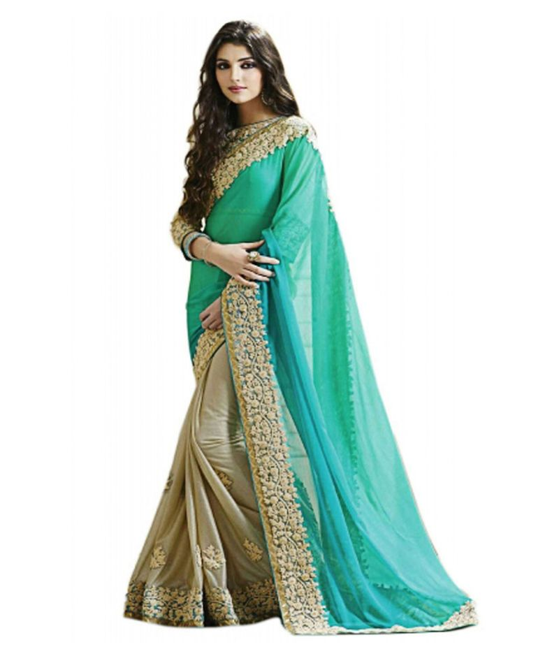 Buy Bhuwal Fashion Multicolour Faux Georgette  Party Wear Saree With Blouse Pcs online